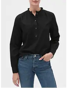 Textured Ruffle Neck Popover Shirt by Gap