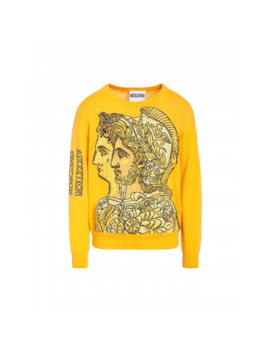 Roman Gods Wool Pullover by Moschino
