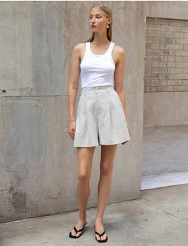Ecru Linen Shorts by Pixie Market