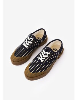 Unisex Good News Hurler 2 Low Sneakers   Navy/Brown Stripe by Garmentory