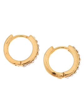 18kt Gold Plated 10 Mm Crystal Hoop Earrings by Claire's