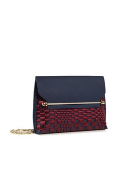 East/West Stylist   Navy With Burgundy Weave by Strathberry