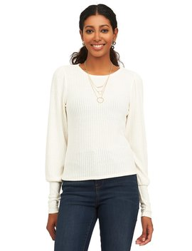¾ Sleeve Sweater With Boat Neck by Suzy Shier