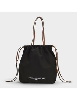Simple Strings Tote In Black Eco Cotton Canvas by Stella Mc Cartney
