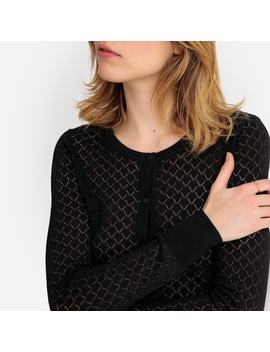 Buttoned Openwork Knit Cardigan by La Redoute Collections