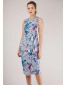 Floral Print Tie V Back Pencil Dress by Closet