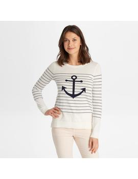 Anchor Print Striped Sweater by G.H.Bass & Co.