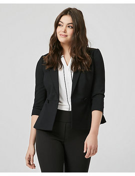 Ponte Knit Double Breasted Peplum Blazer by Le Chateau