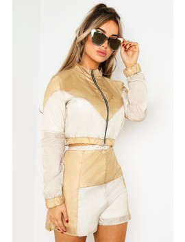 Nude Colour Block Shell Suit Shorts by Lasula