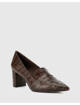 Donner Chocolate Crocodile Print Leather Block Heel Pointed Pump by Wittner