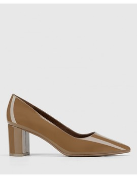 Dalena Mocha Patent Pointed Toe Block Heel by Wittner
