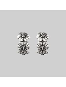 Purity. Daisy Chain Hoop Earrings   Silver by Regalrose