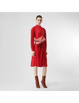 Topstitch Detail Jersey Tie Neck Dress by Burberry