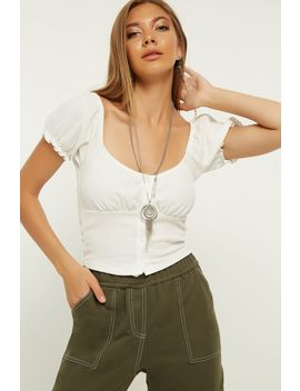 Ivory Button Front Waffle Puff Sleeve Top by Select