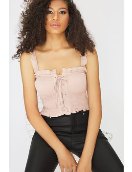 Latte Lace Up Shirred Strappy Top by Select
