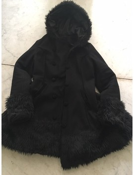 Black Restyle Knee Length Faux Fur Coat by Restyle