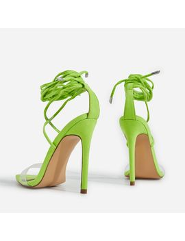 Wavey Lace Up Pointed Perspex Heel In Lime Green Faux Suede by Ego