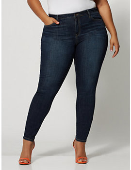 Dark Wash Mid Rise Cross Hatch Skinny Jeans by Fashion To Figure