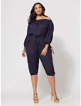 Jenny Off Shoulder Utility Jumpsuit by Fashion To Figure