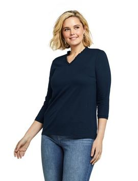 Women's Plus Size Ruffle V Neck 3/4 Sleeve Top by Lands' End