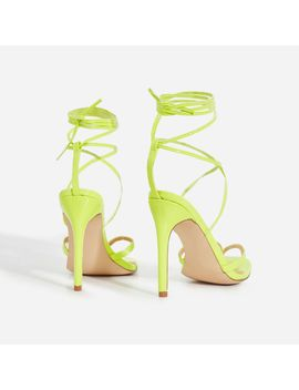 Malina Lace Up Heel In Neon Green Patent by Ego