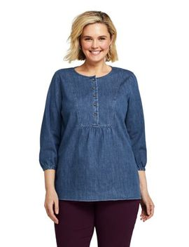 Women's Plus Size 3/4 Sleeve Denim Tunic by Lands' End