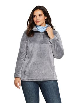 Women's Plus Size Softest Fleece Snap Neck Pullover Top by Lands' End