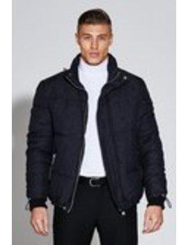 Premium Short Length Jacquard Puffer Jacket Premium Short Length Jacquard Puffer Jacket by Boohoo