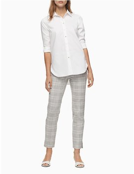 Modern Ankle Fit Stretch Pink Summer Plaid Pants by Calvin Klein