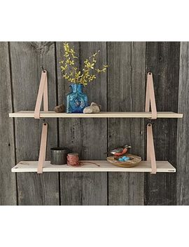 Suspended Wood And Leather Shelf by Orvis