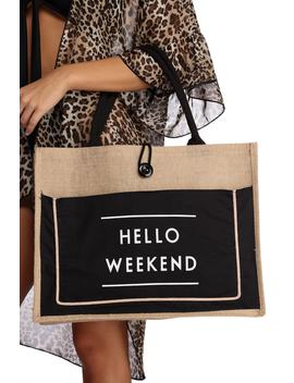 Hello Weekend Straw Tote Bag by Windsor