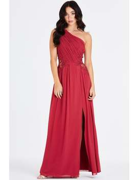 Little Mistress Nadja Red One Shoulder Lace Maxi Dress by Little Mistress