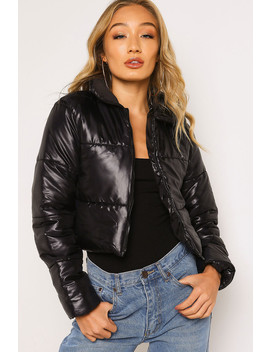 Black Zip Up Puffer Jacket by Lasula