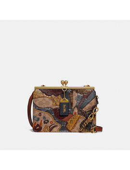 Double Frame Bag In Signature Canvas With Starscape Patchwork And Snakeskin Detail by Coach