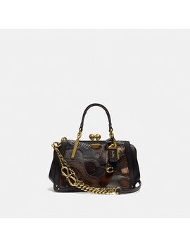 Kisslock Dreamer 21 In Signature Canvas With Starscape Patchwork And Snakeskin Detail by Coach