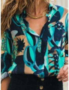 Button Color Block Lapel Long Sleeve Women's Blouse by Tb Dress