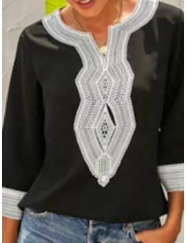 Color Block Embroidery Three Quarter Sleeve Women's Blouse by Tb Dress