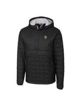 Minnesota Vikings Cutter & Buck Rainier Hooded Half Zip Pullover Jacket   Black by Fanatics