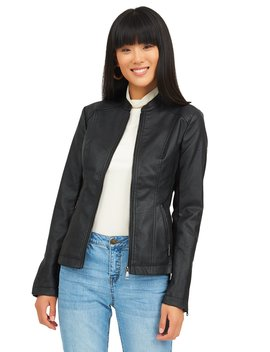 Side Ribbed Jacket With Front Zip Up by Suzy Shier