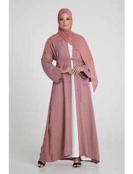 Dusty Pink Open Abaya by Abayabuth