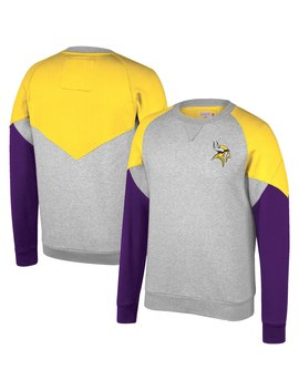 Minnesota Vikings Mitchell & Ness Trading Block Crew Sweatshirt – Heathered Gray by Mitchell &Amp; Ness