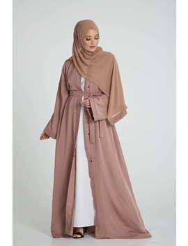 Dusty Taupe Open Abaya by Abayabuth