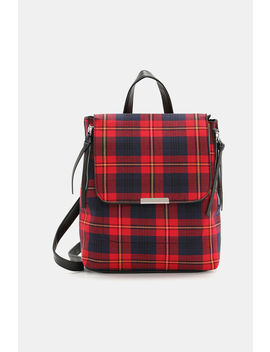 Plaid Backpack With Zip Details by Ardene