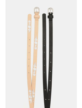 Thin Embroidered And Studded Belts by Ardene