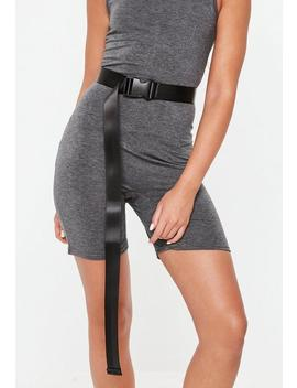 Black Canvas Buckle Belt by Missguided