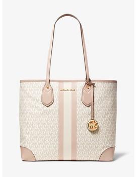 Eva Large Logo Stripe Tote Bag by Michael Michael Kors