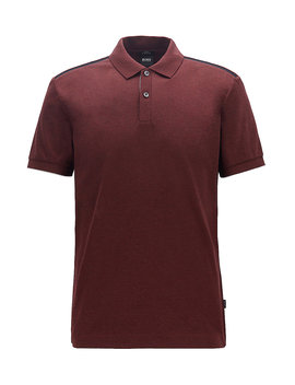 Slim Fit Polo Shirt With Contrast Shoulder Panels by Boss