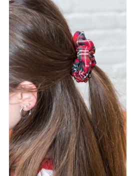 Red And Green Plaid Scrunchie by Brandy Melville