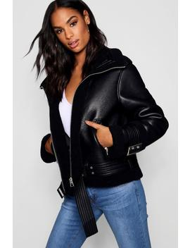 Tall Faux Fur Lined Aviator Jacket by Boohoo