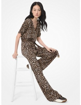 Leopard Stretch Matte Jersey Jumpsuit by Michael Michael Kors